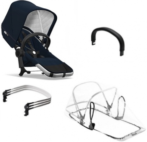Bugaboo Donkey2 Duo Extension Set Komplett, Classic Collection, Alu/Dark Navy