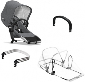 Bugaboo Donkey2 Duo Extension Set Komplett, Classic Collection, Alu/Grey Melange