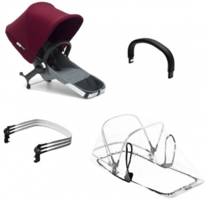 Bugaboo Donkey2 Duo Extension Set Komplett, Red/Grey