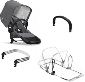 Bugaboo Donkey2 Duo Extension Set Komplett, Classic Collection, Black/Grey Melange