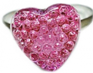 Busy Lizzie Ring Strass Hjerte Rosa
