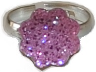 Busy Lizzie Ring Strass Blomst Rosa
