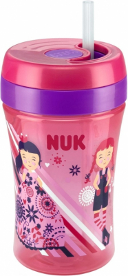 NUK Fun Cup med sugerør Rosa