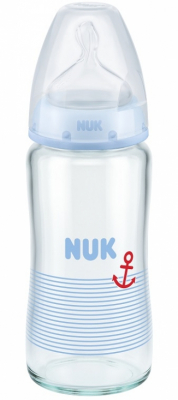 NUK Glassflaske First Choice+ Wideneck 240 ml, Blå
