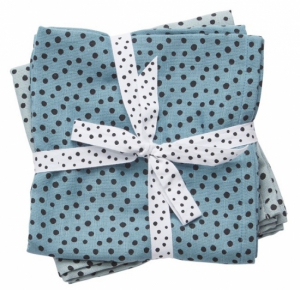 Done by Deer Swaddle pledd Happy Dots Blue, 2-pack