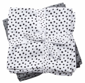 Done by Deer Swaddle Teppe Happy Dots Grey, 2-pack
