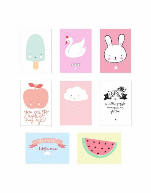 A Little Lovely Company Poster Sheets 8 stk Rosa