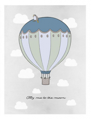 Frank & Poppy Poster 30x40 Fly Me To The Moon Petrol