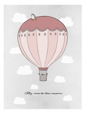 Frank & Poppy Poster 50x70 Fly Me To The Moon Pink