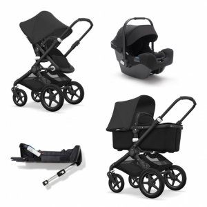Pakkepris! Bugaboo Fox All Black + Turtle By Nuna & isofixbase