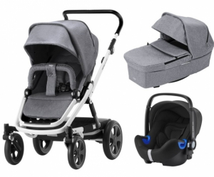 Britax Go Big² Travel System Grey Melange, Hvitt Chassi