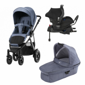 Britax Smile 2 Duovogn + Babybilstol med base Blue Denim