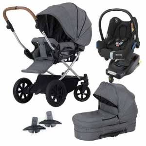 Pakke! Crescent Performance Duo Grey Melange med Maxi Cosi bilsete, base  og Adaptere