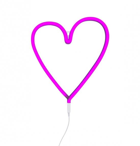 A Little Lovely Neon Light Heart Pink   Vegglamper Lamper